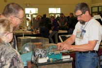 Bill Schoenfuss, from Wausau, demonstrates how to cut and polish Wisconsin moonstone.